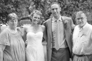 "My grandfather, Ralph Merritt ""Sonny"" Harris, passed away Aug. 25, 2015. He's pictured here with Esther, his wife of 54 years, along with myself and Chris at our wedding on Aug. 23, 2014."