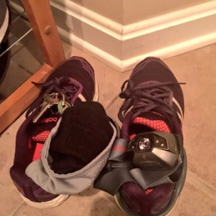 Shoes, keys, headlamp, accessories.